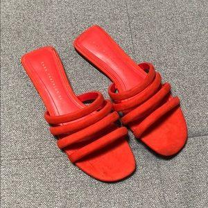 Tomato red ZARA slide flats Sandals 37 7
